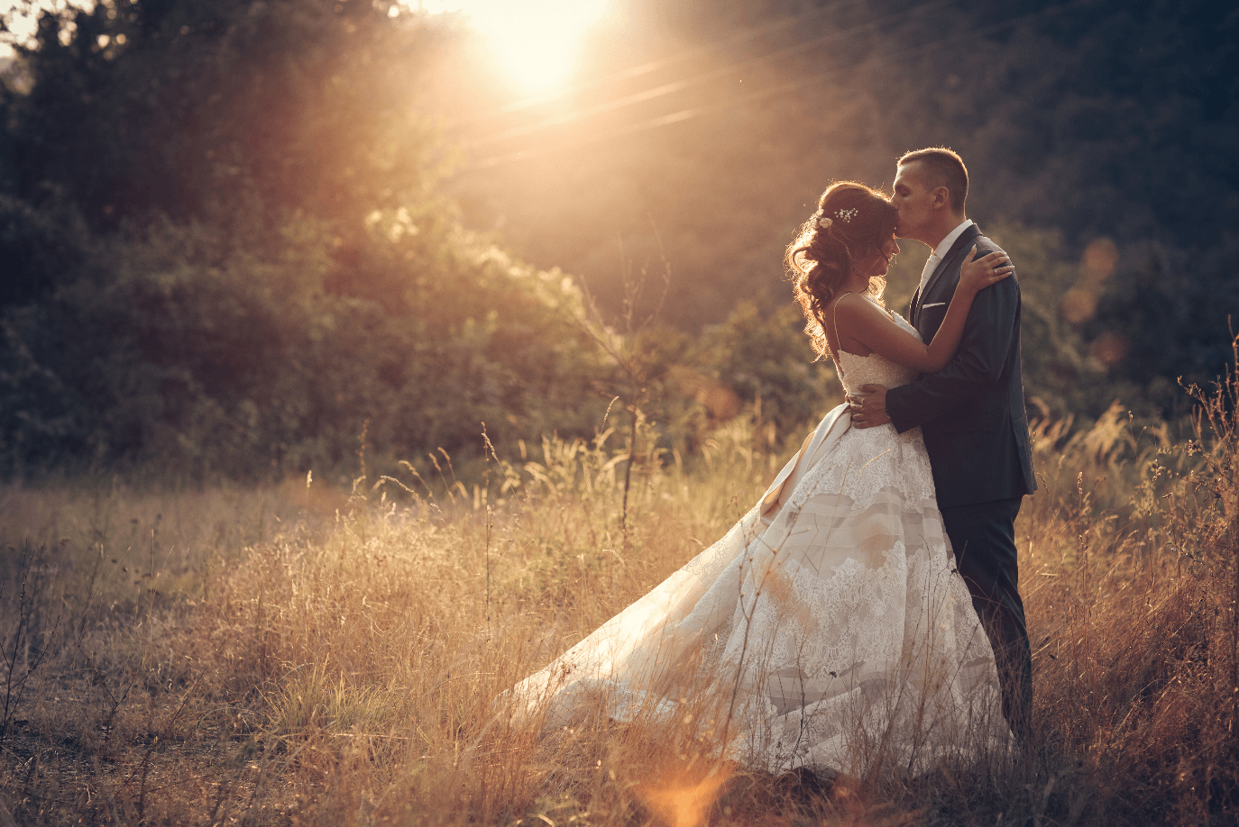 Groom kisses bride in field at sunset